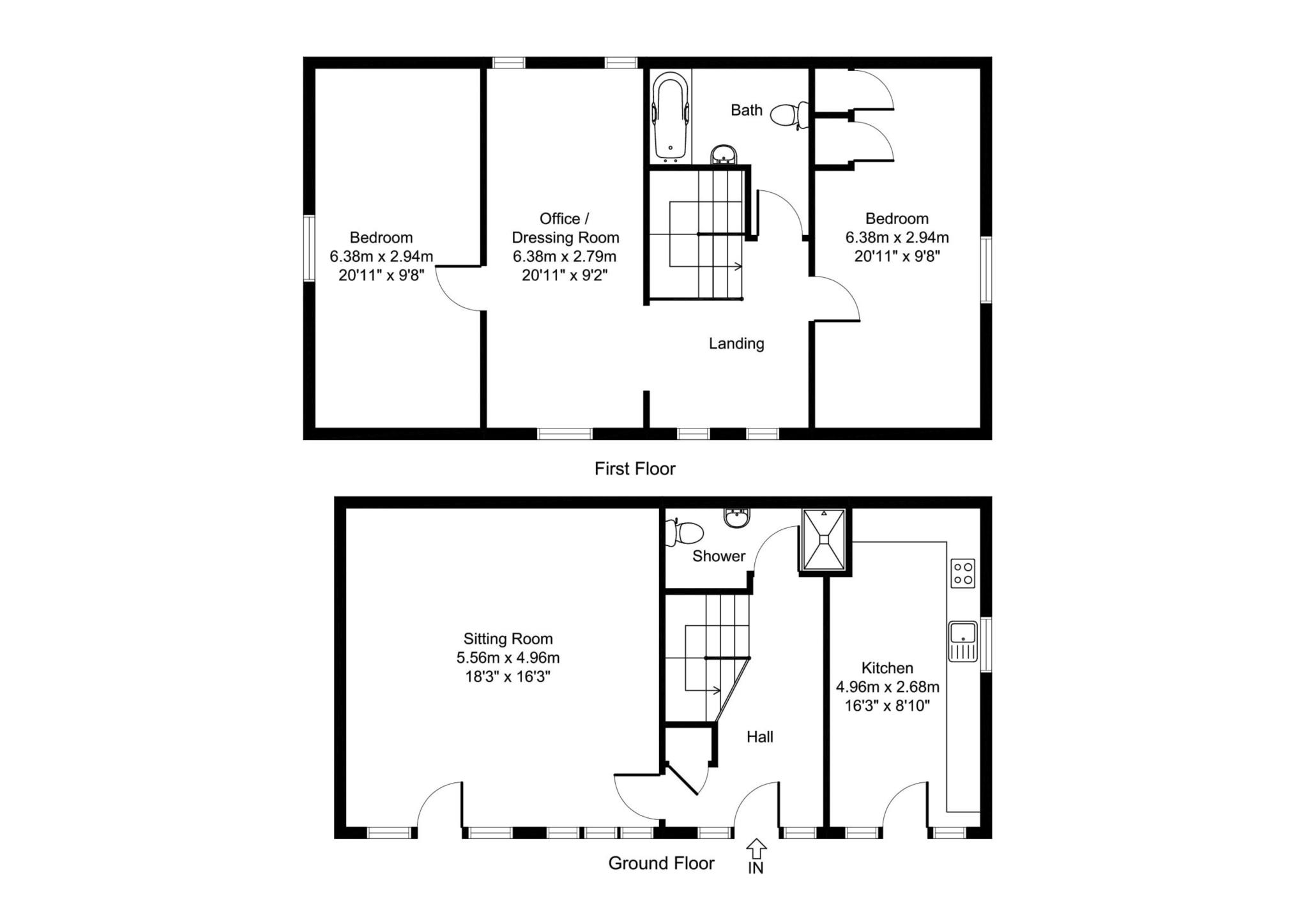 2 bedroom barn conversion to rent the cart shed aston for Barn conversion floor plans