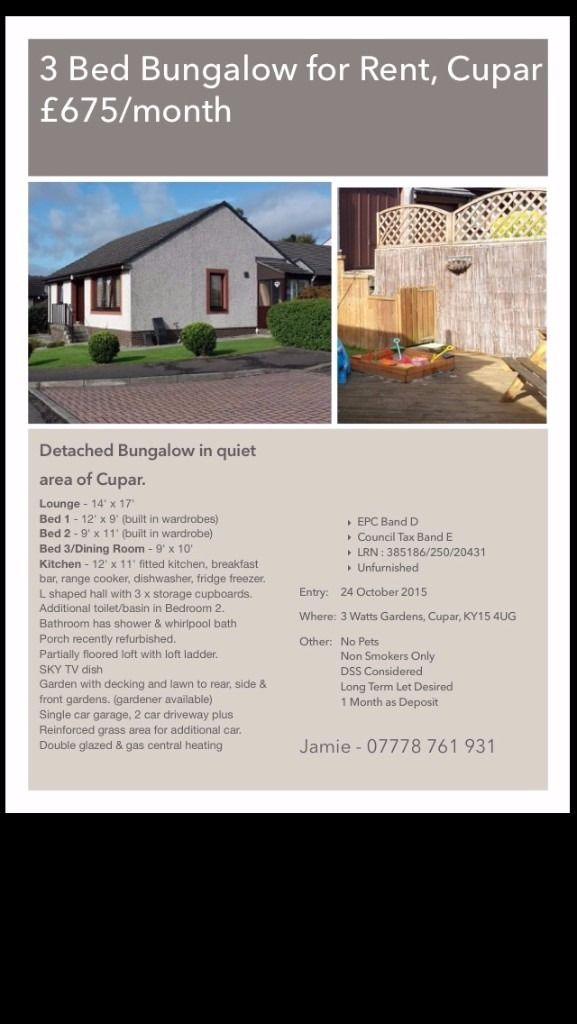Bungalow To Rent Watts Gardens Cupar Ky15 4ug
