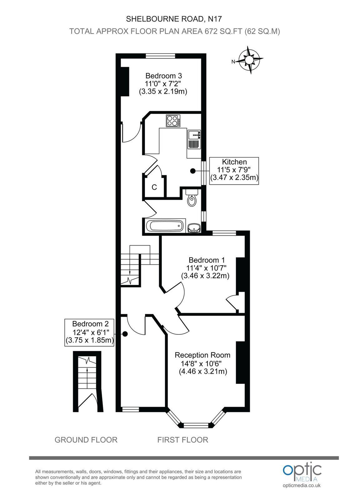 3 bedroom apartment to rent shelbourne road tottenham for Apartment floor plans london